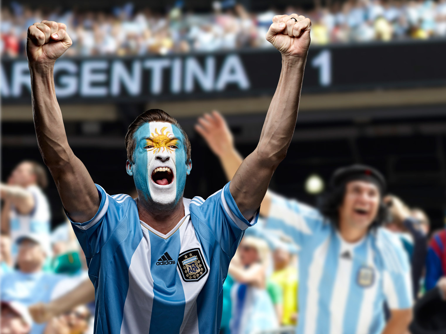 Argentinian Futbol soccer fan face paint photo by Monte Isom