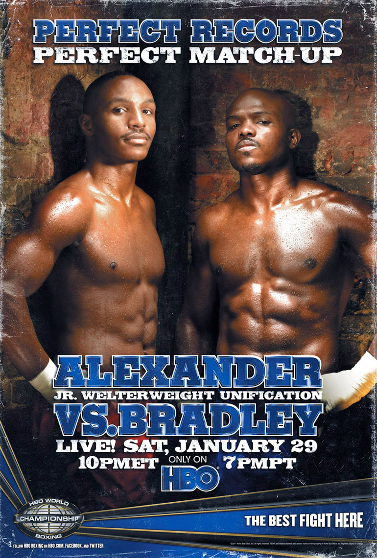 Timothy Bradley vs Devon Alexander fight poster on HBO photo by Monte Isom