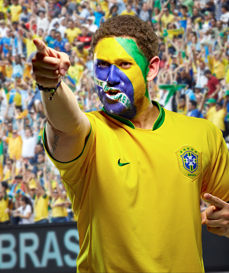 Brazil Futbol soccer fan face paint photo by Monte Isom