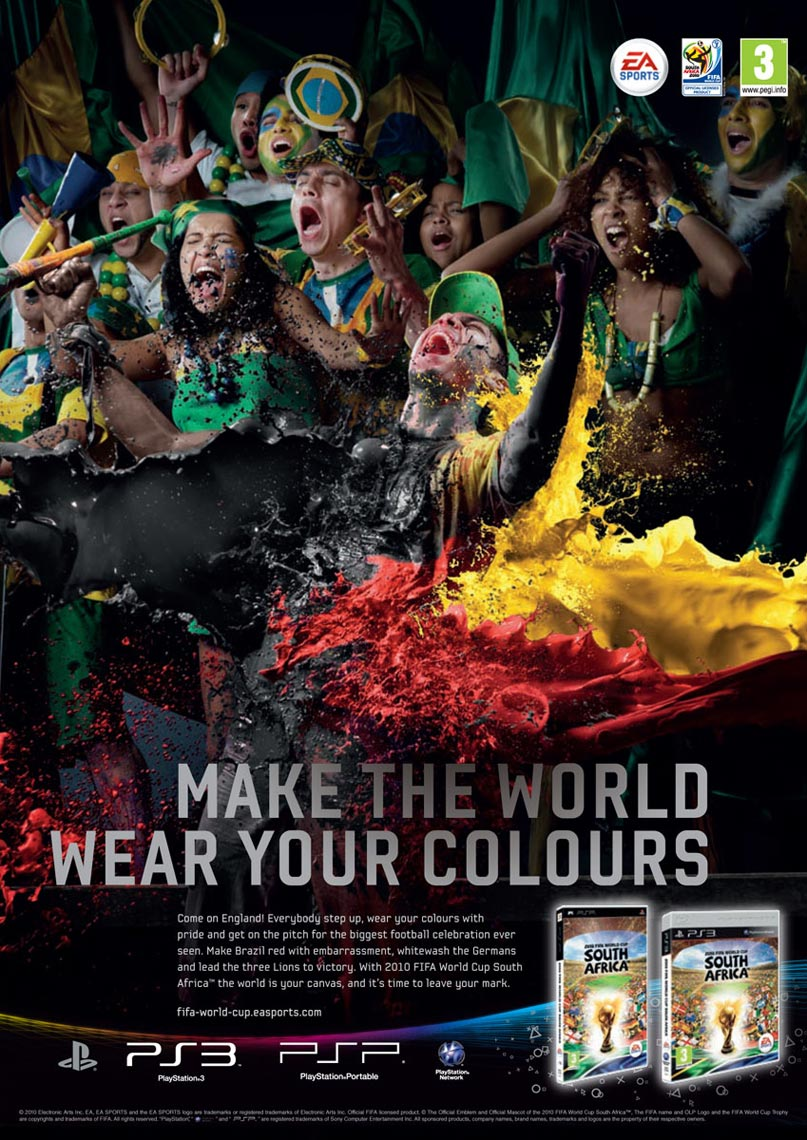 Futbol fans EA Sports FIFA world cup 2010 advertising photo by Monte Isom