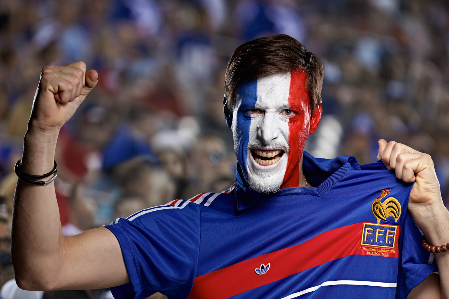 French Football soccer fan face paint photo by Monte Isom