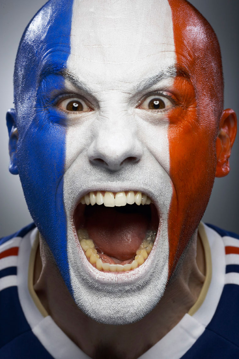 French Football soccer face paint fan photo by Monte Isom