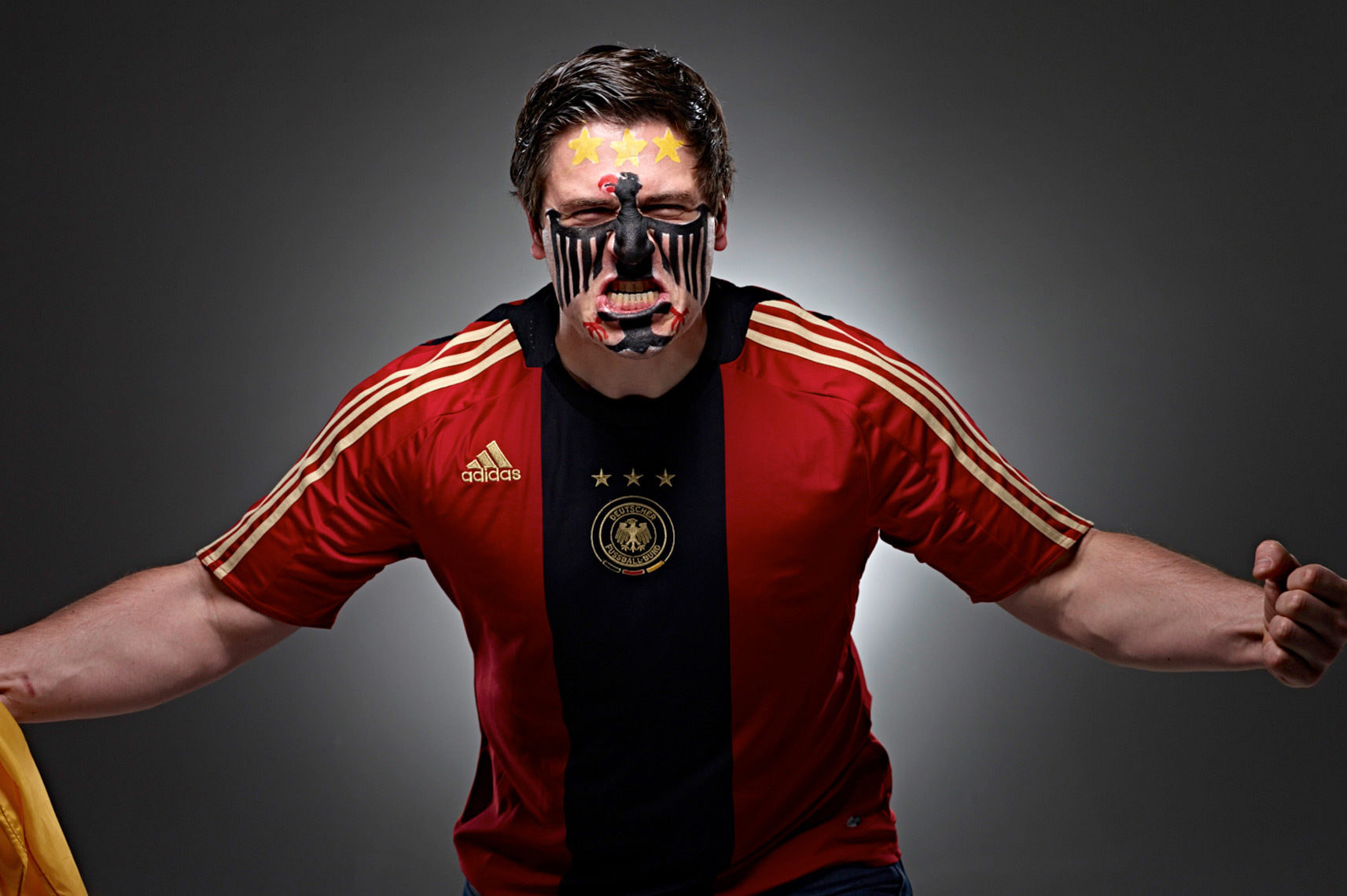 German Footbol soccer fan face paint photo by Monte Isom