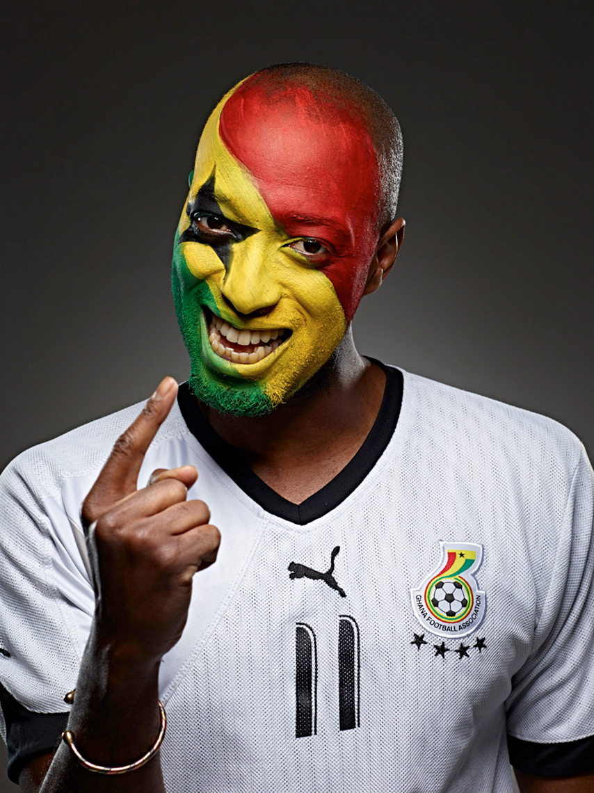 Ghana football soccer fan face paint photo by Monte Isom