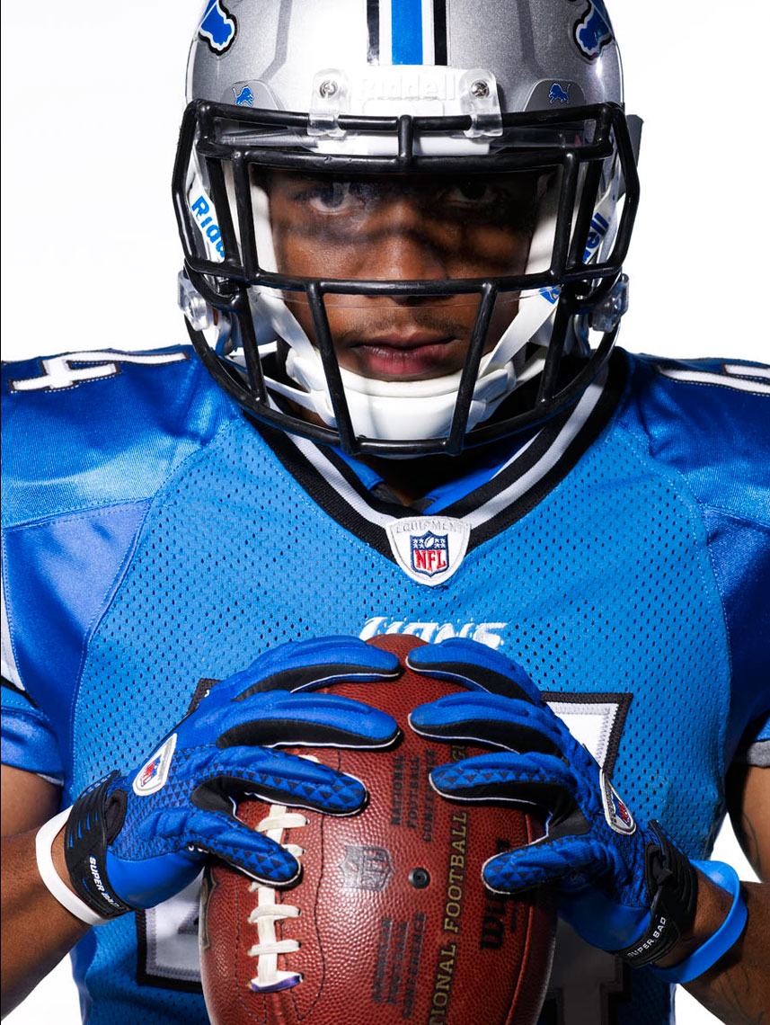 Jahvid Best portrait running back of Detroit Lions photo by Monte Isom