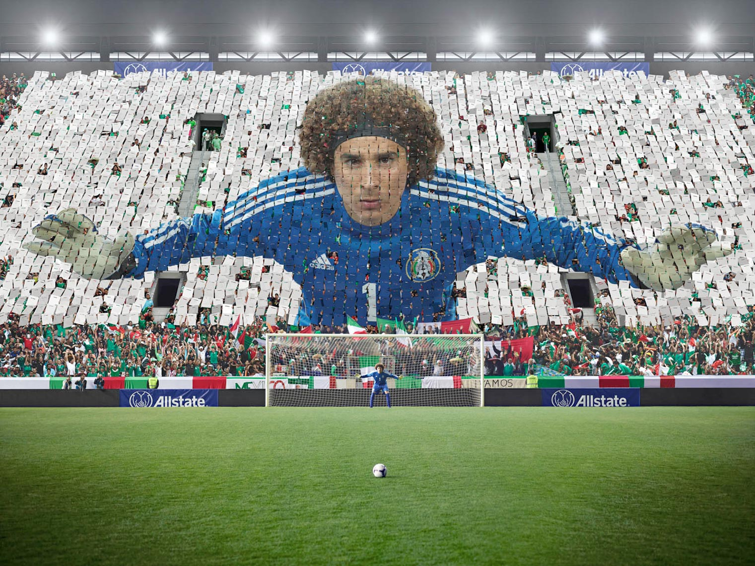 Memo Ochoa Mexican Goalie Card Stunt Photo by Monte Isom