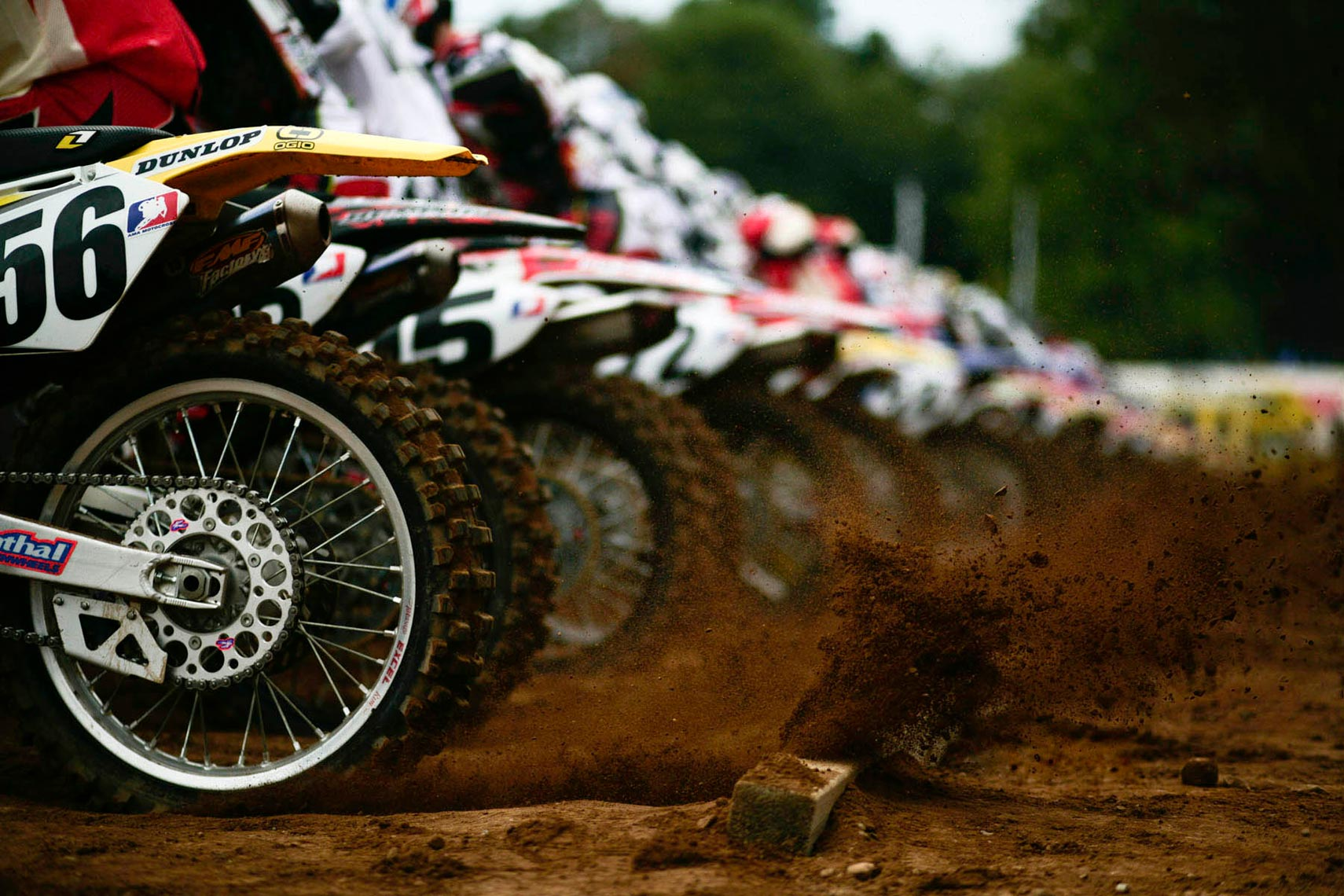 Motocross Starting line with dirt flying photo by monte isom MotoX