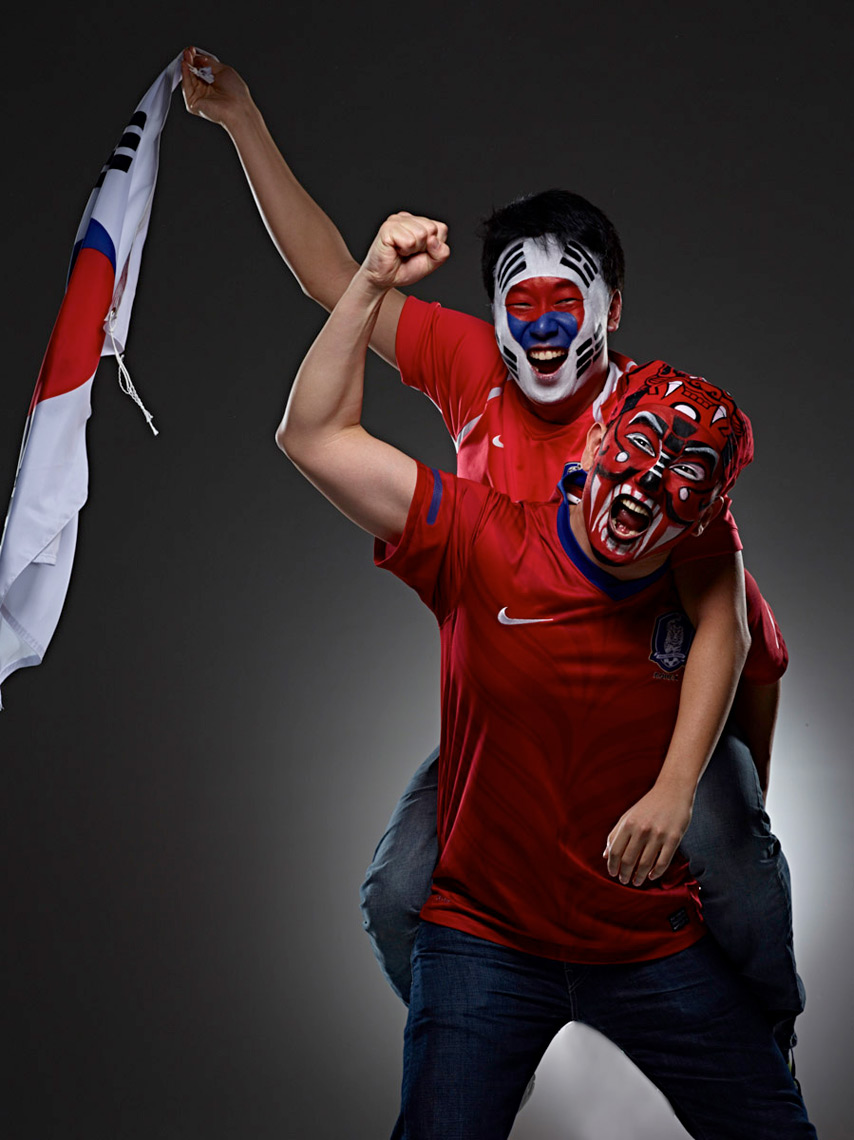 South Korea football soccer fan face paint photo by Monte Isom