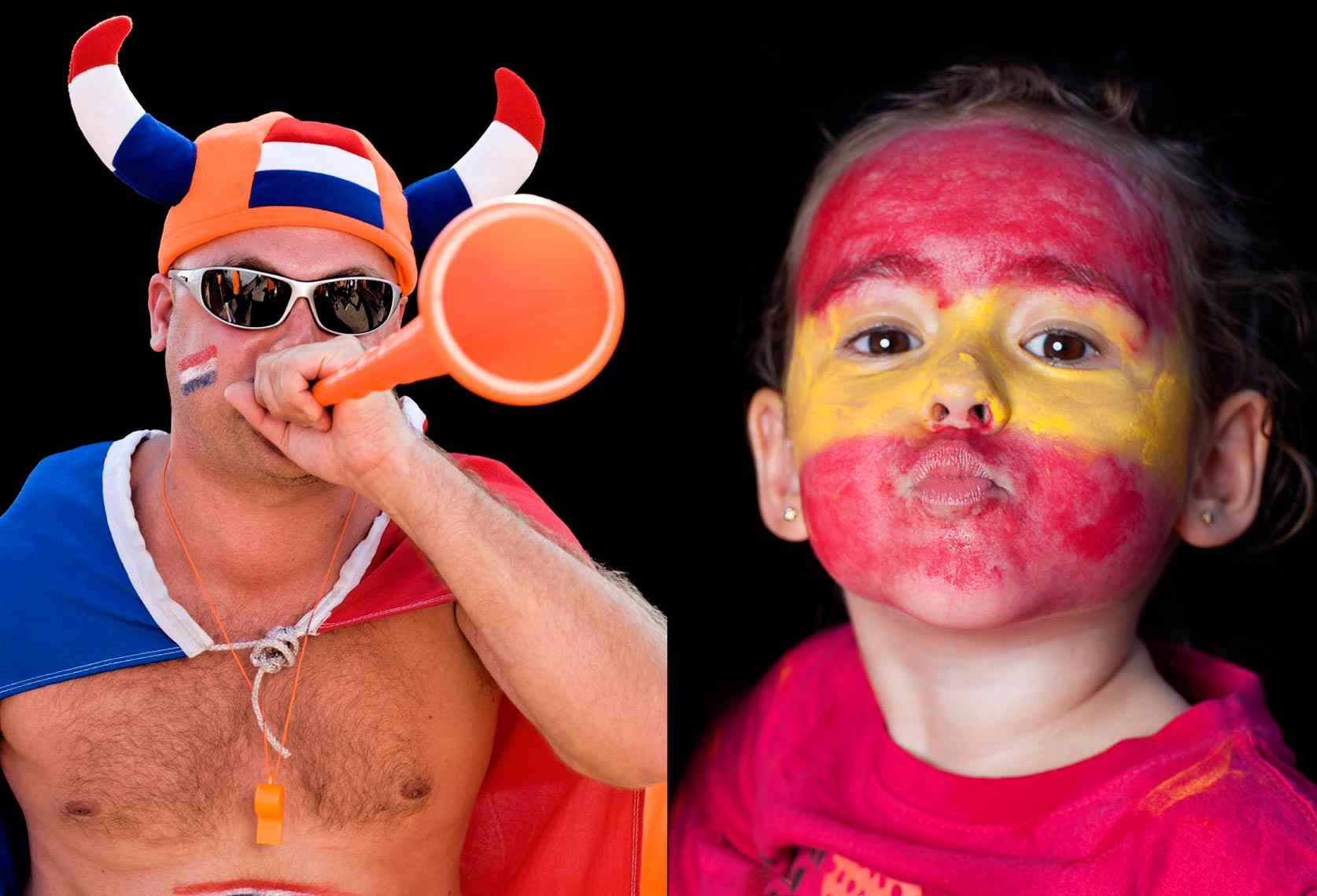 Holland and Spain World Cup Soccer fans