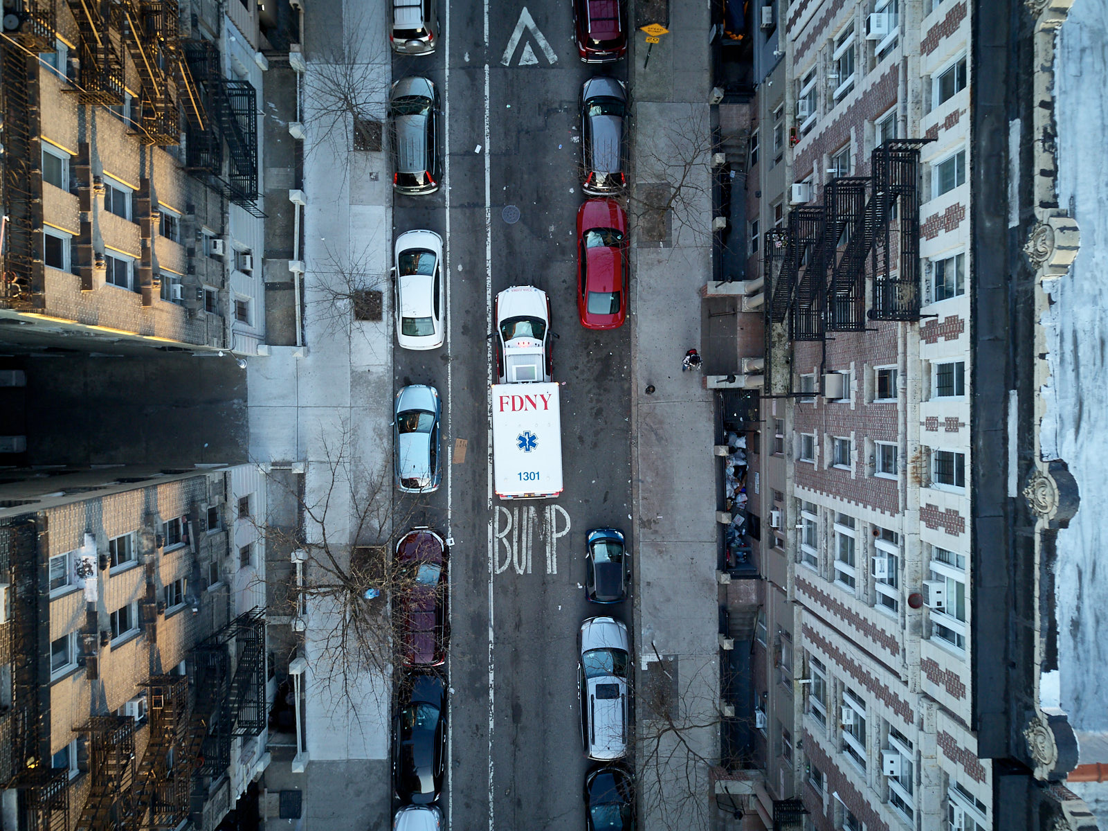 Ambulance from above NYC during coronavirus